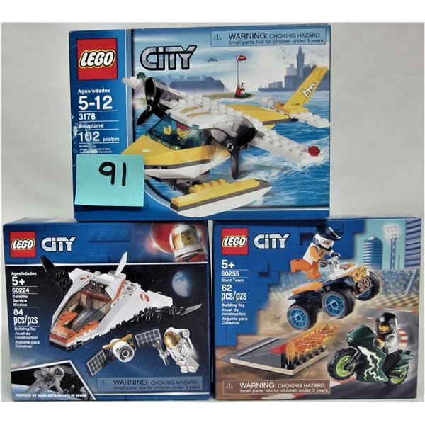 Trio 3 new sealed Lego city sets
