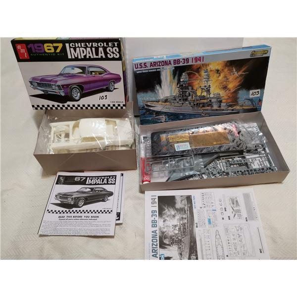 Chev Impala & Battleship model kits