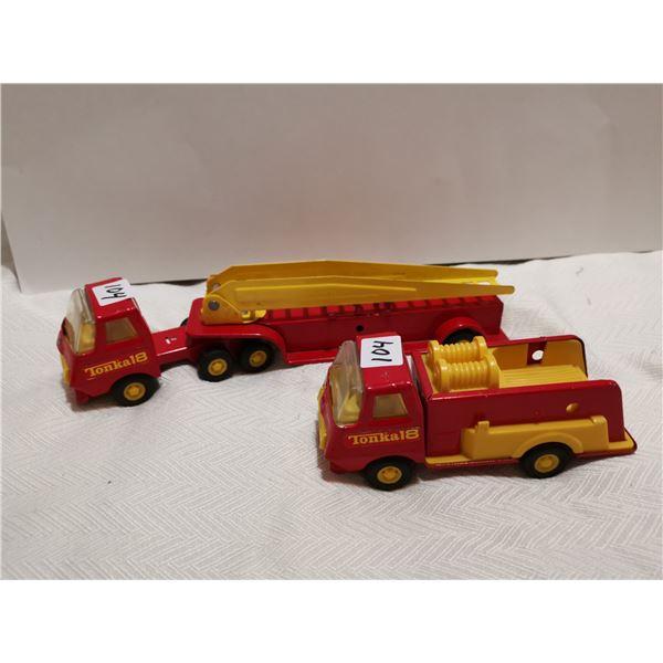 """2 Tonka tin trucks, 10"""" fire ladder 6"""" Fire truck"""