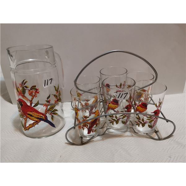 French pitcher and 6 glasses, design #23, birds