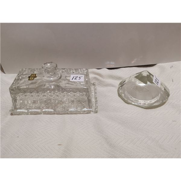 """Crystal butter dish 6"""", crystal dome 4"""""""