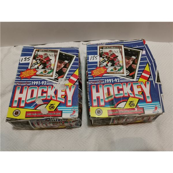 2 full boxes O Pee Chee 1991-92 with gum hockey cards