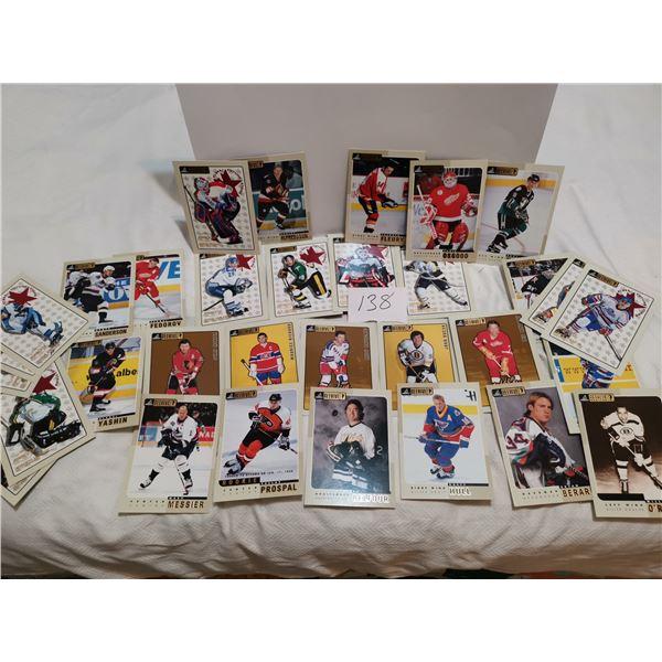 "Bee Hive Hockey cards, 33 CHL, NHL, 5"" x 7"""