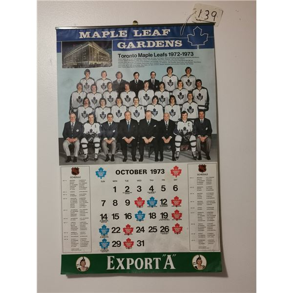 "1972-73 Maple Leafs calendar 16"" X 25"" with Team Canada"