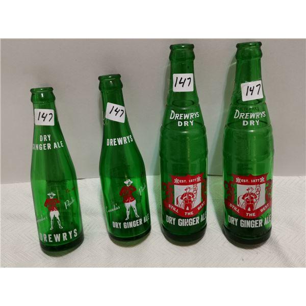 4 Drewry's Dry bottles, RCMP logos