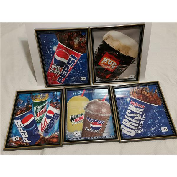 """5 framed 9"""" X 11"""" Pepsi original ads"""