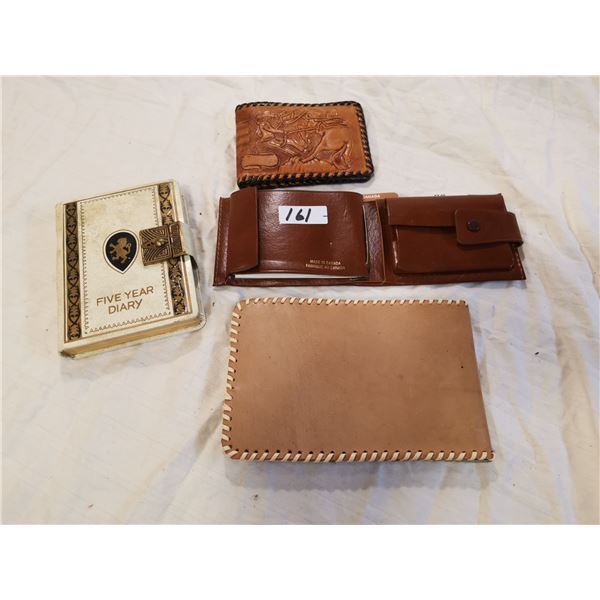 2 old diaries & 2 leather wallets