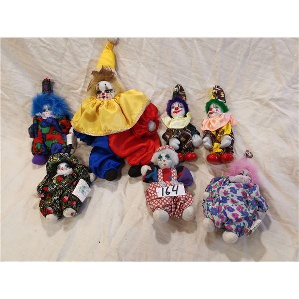 7 Porcelain clowns