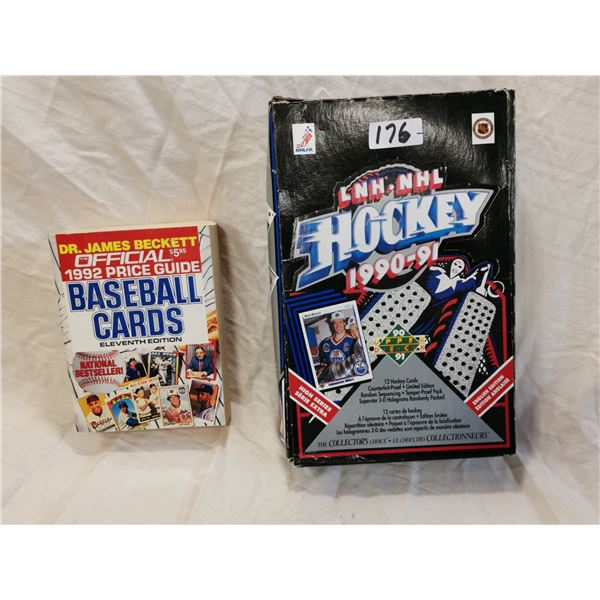 1992 baseball cards guide & 1990-91 box of NHL cards (2 missing)