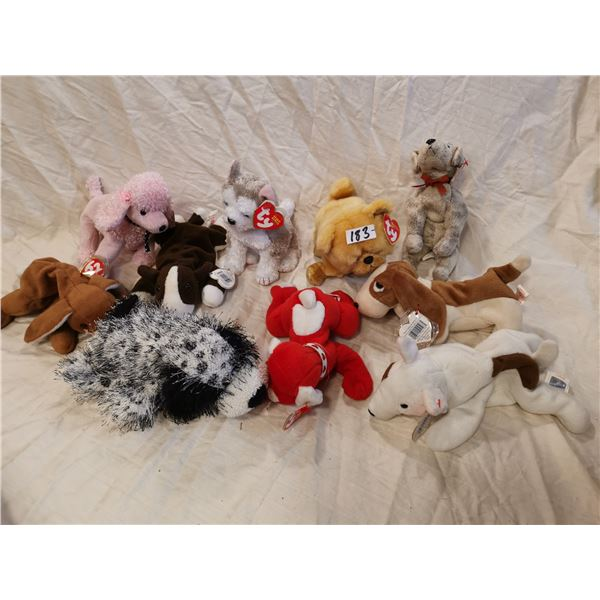 10 Beanie babies, dogs - with tags
