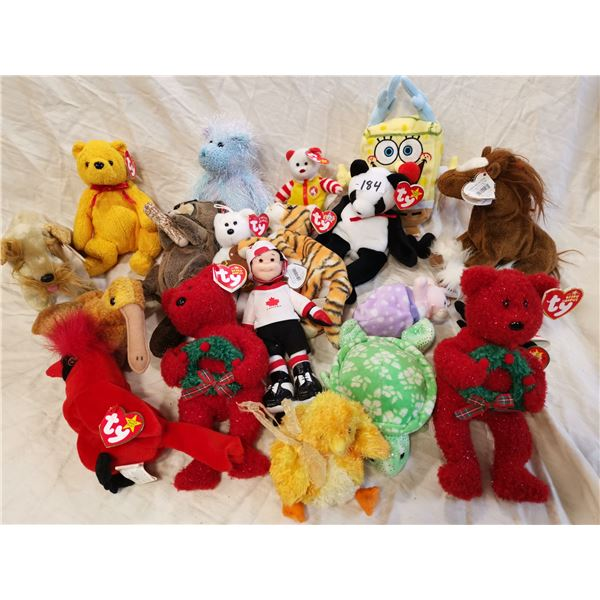19 Beanie babies, most with tags