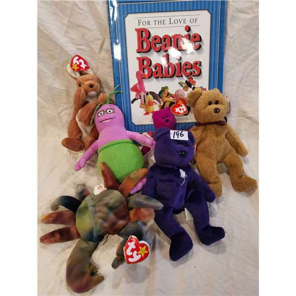 Beanie babies book & 6 Beanie babies