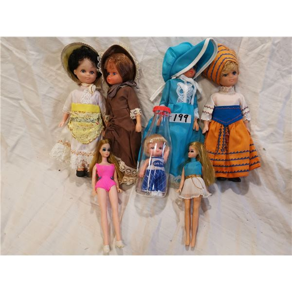 Coca-Cola kid in bottle & 6 dolls