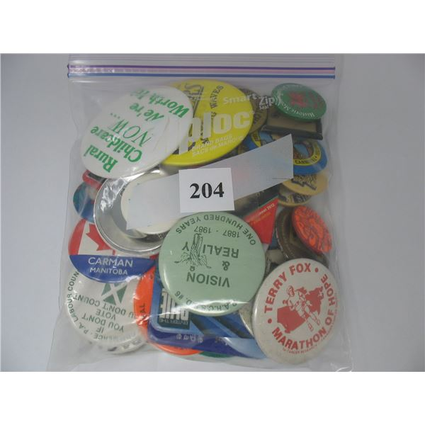 BAG of PINBACK BUTTONS - 40 Plus