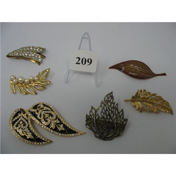 LOT of 6 BROOCHES - LEAF DESIGN