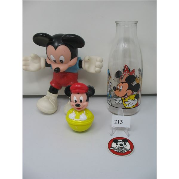 MICKEY MOUSE  LOT - Bottle,  Mickey Mouse Club Pin,  Doll and Baby Rolly Polly