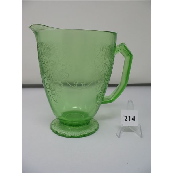 GREEN DEPRESSION GLASS PITCHER - FLORINTINE PATTERN - No Cracks or Chips