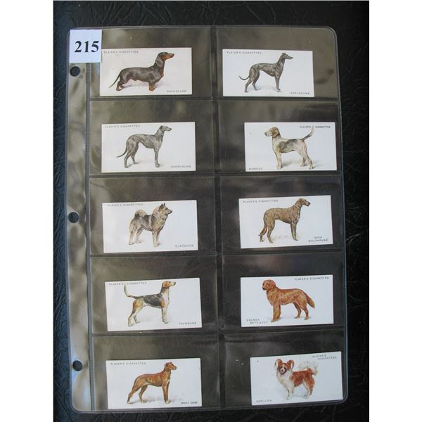 LOT of 10 Different JOHN PLAYER & SON TOBACCO CARDS - DOGS