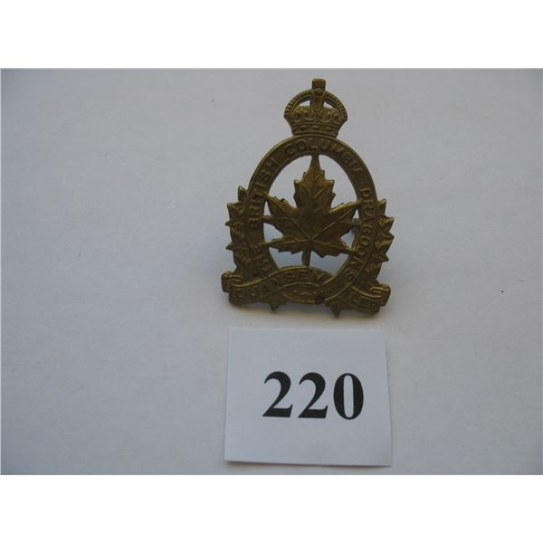 THE BRITISH COLUMBIA DRAGOONS CAP BADGE - WW 2 - KINGS CROWN