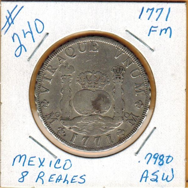 1771 MEXICO SILVER 8 REALES - Acutal Silver Weight - ,7980 Oz