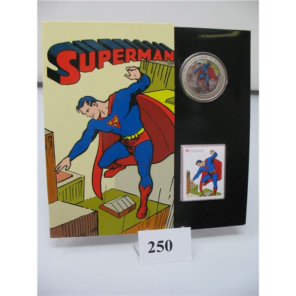 2013 75th ANNIVERSARY of SUPERMAN - 50 CENT COIN and STAMP SET