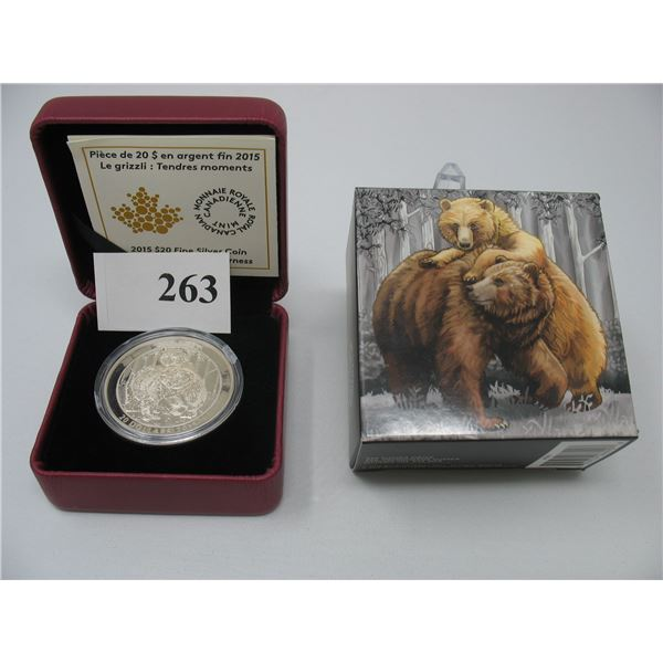 2015 CANADIAN $20 SILVER COIN - GRIZZLY BEAR - TOGETHERNESS