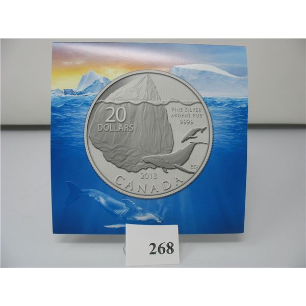2013 CANADIAN $20 SILVER COIN - .9999 PURE SILVER - WHALE & ICEBERG