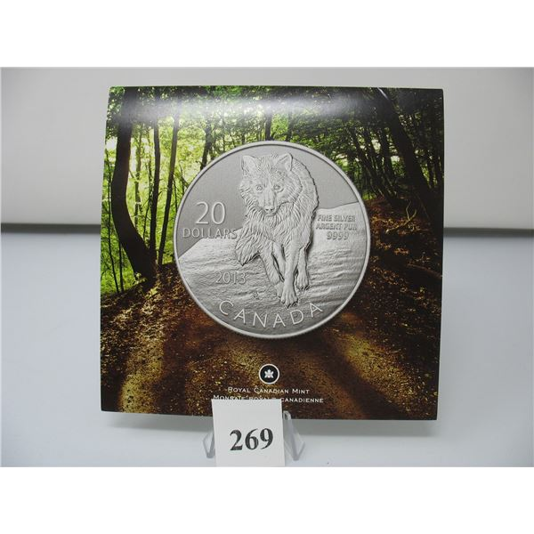 2013 CANADIAN $20 SILVER COIN - .9999 PURE SILVER - WOLF