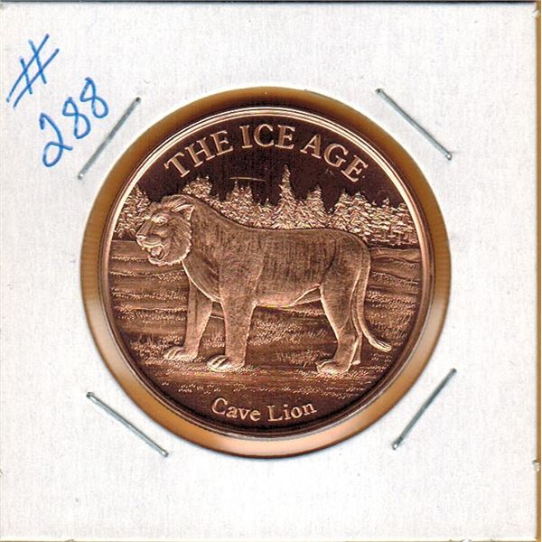 1 OUNCE .999 COPPER - ICE AGE - CAVE LION