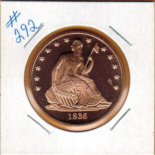 1 OUNCE .999 COPPER - SEATED LIBERTY