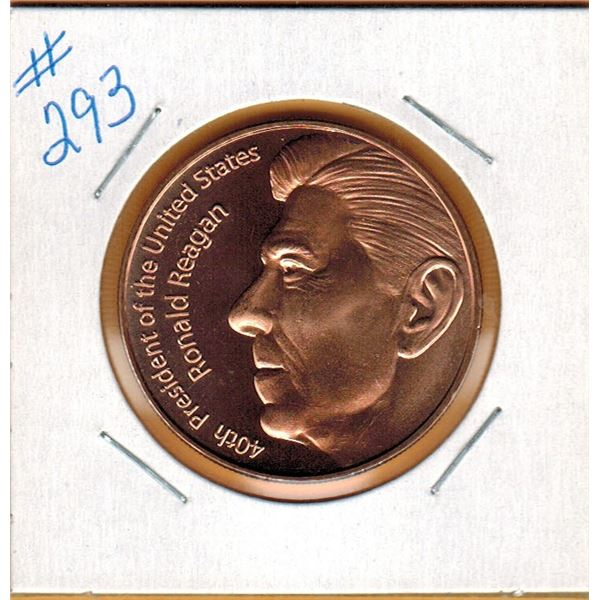 1 OUNCE .999 COPPER - 40th US PRESIDENT - RONALD REAGAN