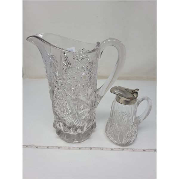 "Pressed glass water jug 9"" high & Syrup jug"