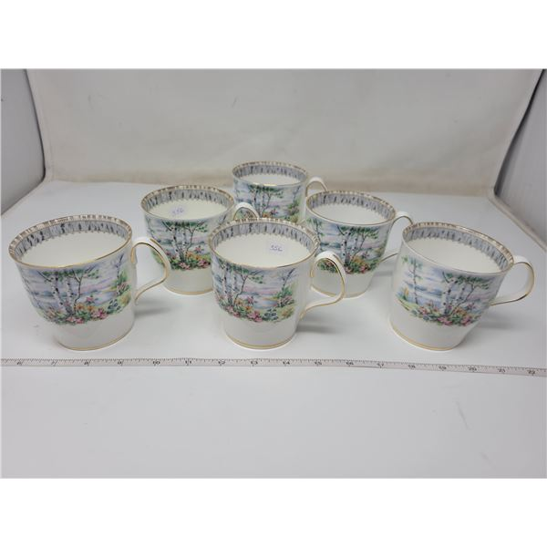 6 Royal albert coffee mugs (silver birch)
