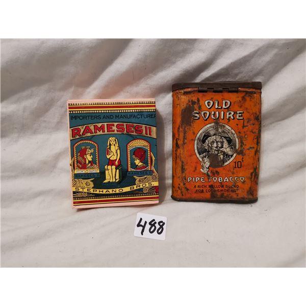 Tin Old Squire & cardboard Rameses tobacco