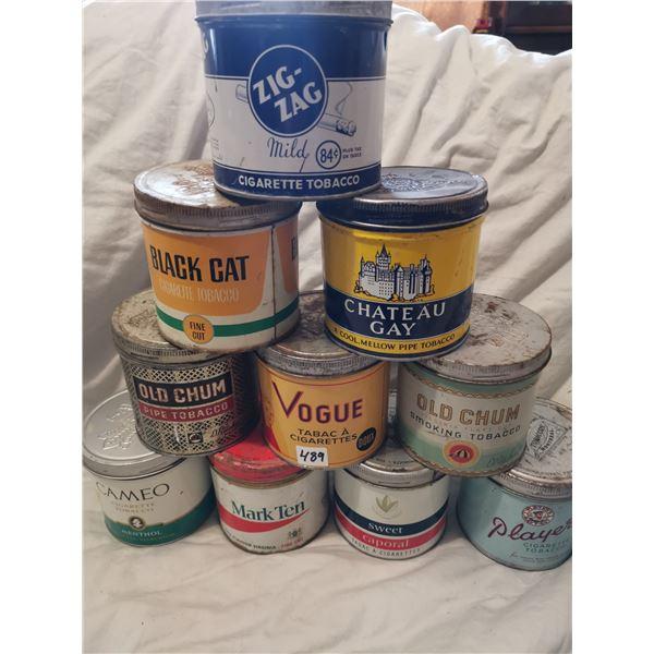 Lot of 10 tobacco tins