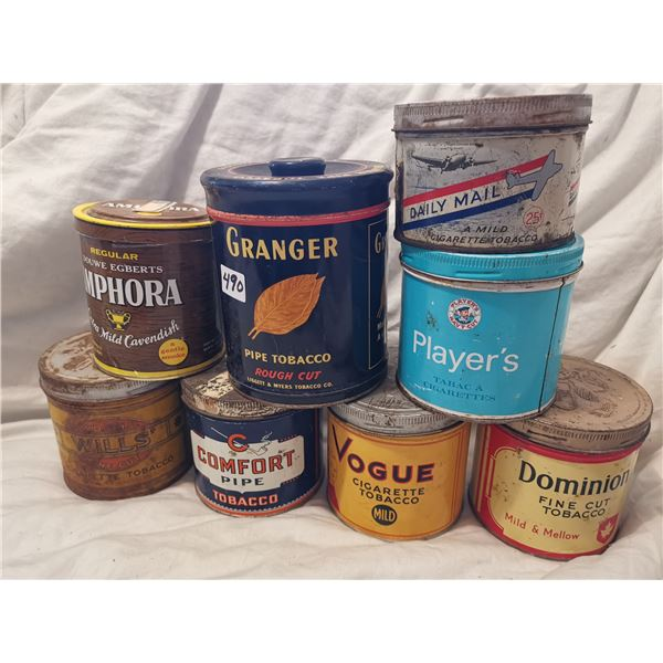 Lot of 8 tobacco tins