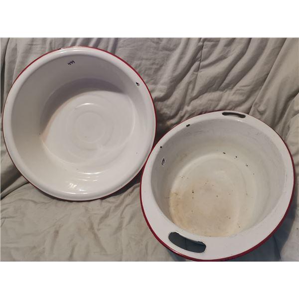 2 large enamel basin bowls