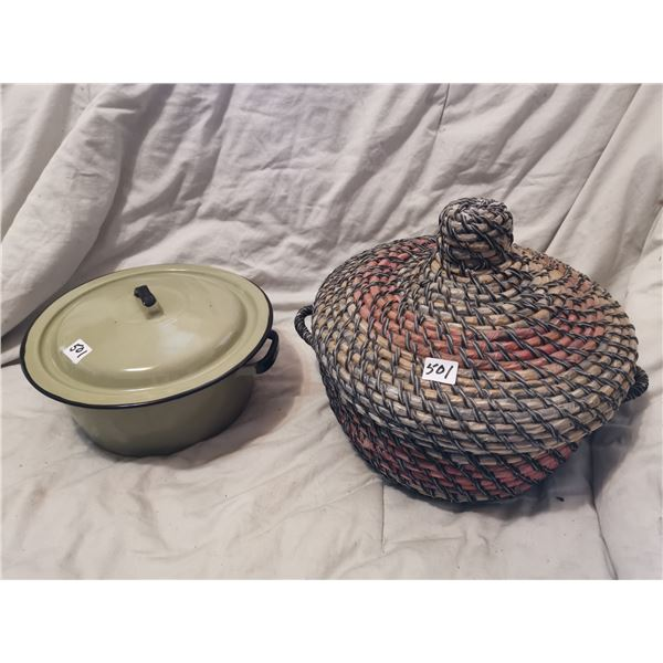 "9"" enamel pot & hand made egg picking basket"