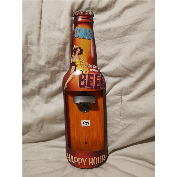 """tin 17"""" bottle opener pin-up girl display"""