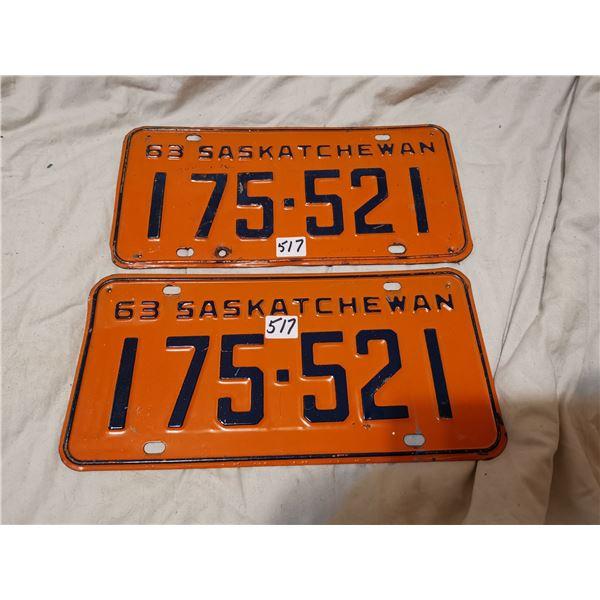 1963 Matching pair of Saskatchewan license plates