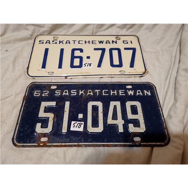 1961, 1962 Saskatchewan license plates