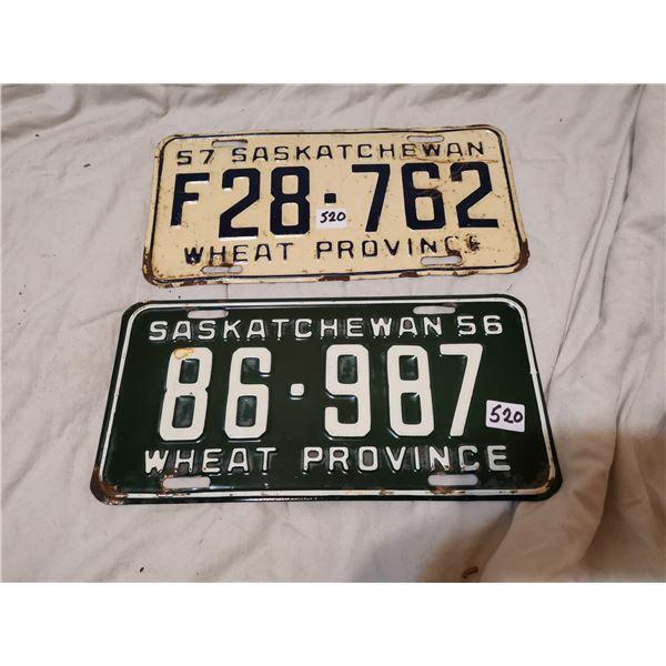 1956, 1957 Saskatchewan license plates