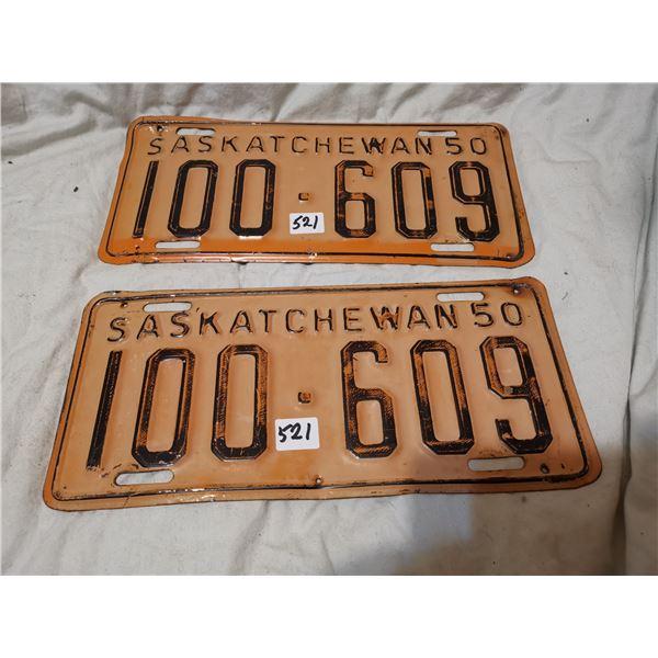 1950 matching pair of Saskatchewan license plates