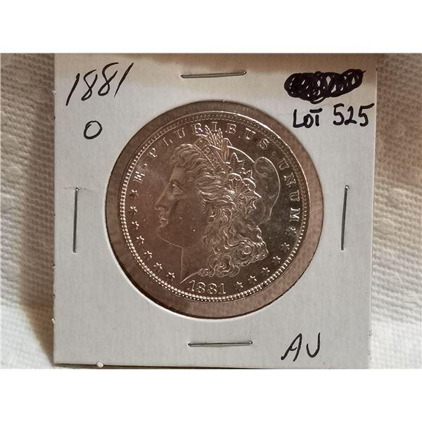 1881 O Morgan silver dollar AU