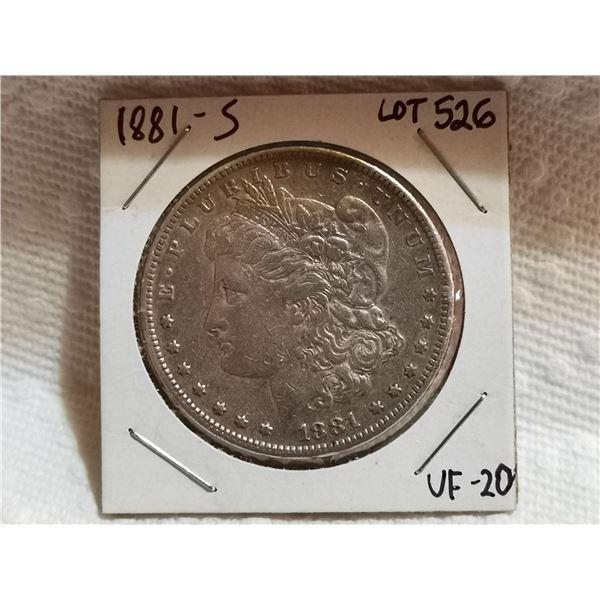 1881 S Morgan silver dollar VF