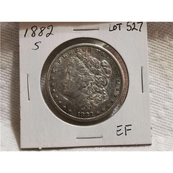 1882 S Morgan silver dollar EF
