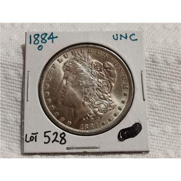 1884 O Morgan silver dollar UNC
