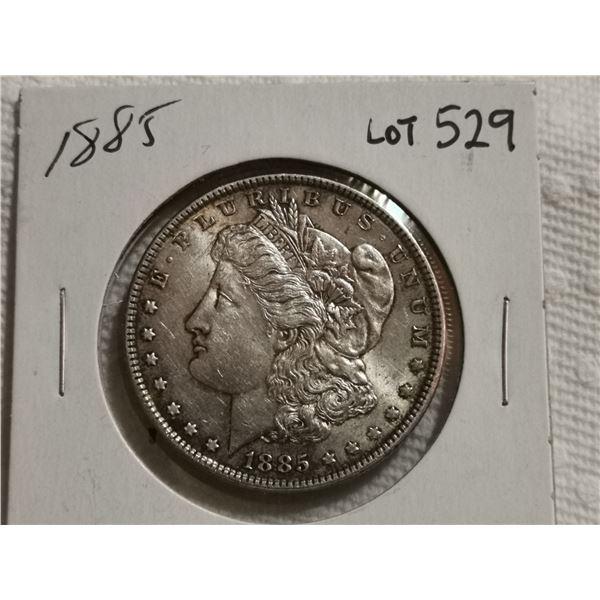 1885 Morgan silver dollar EF