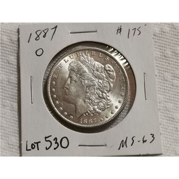 1887 O unc Morgan silver dollar, MS 63