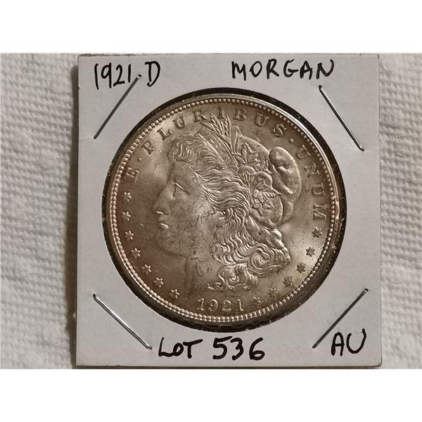 1921D Morgan silver dollar AU